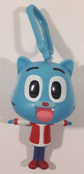 "2018 McDonald's TBS Europe The Amazing World of Gumball 4"" Tall Watterson Gumball Blue Cat Character Plastic Toy Figure with Clip"