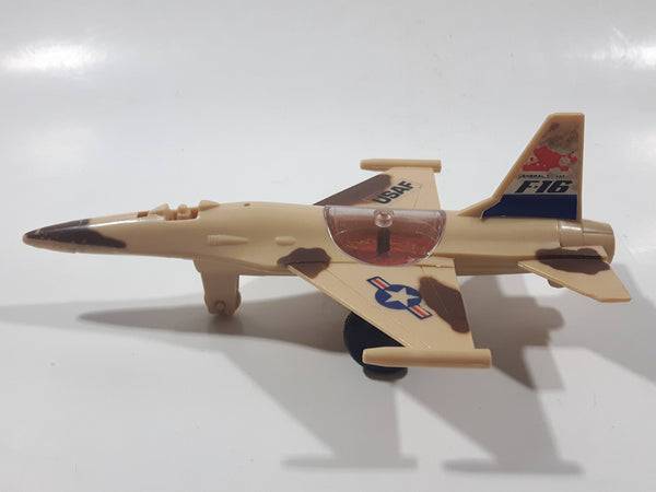"Jimmy Toys F-16 USAF Plastic Toy Fighter Jet Missing Canopy 6 1/2"" Long"