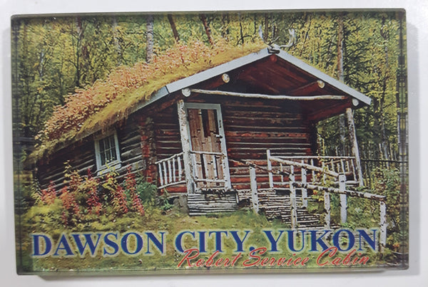 "Dawson City Yukon Robert Service Cabin 2"" x 3"" Clear Resin Fridge Magnet"