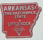 "Arkansas ""The Razorback State"" Little Rock 1 3/4"" x 2"" State Shaped Rubber Fridge Magnet"