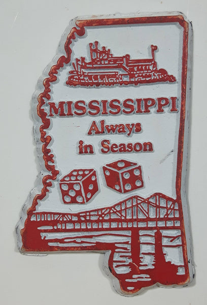 "Mississippi ""Always In Season"" 1 1/4"" x 2 1/4"" State Shaped Rubber Fridge Magnet"