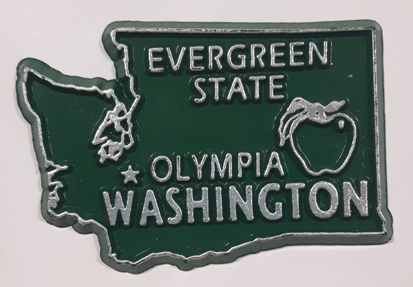 "Washington ""Evergreen State"" Olympia 1 1/2"" x 2 1/4"" State Shaped Rubber Fridge Magnet"