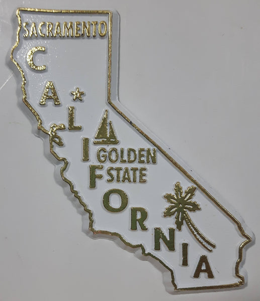 "California ""Golden State"" Sacramento 2"" x 3 3/8"" State Shaped Rubber Fridge Magnet"