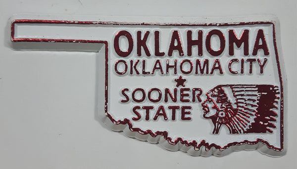 "Oklahoma ""Sooner State"" Oklahoma City 1 3/8"" x 2 1/2"" State Shaped Rubber Fridge Magnet"
