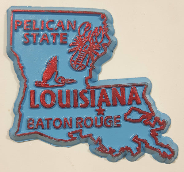 "Louisiana ""Pelican State"" Baton Rouge 1 3/4"" x 2"" State Shaped Rubber Fridge Magnet"