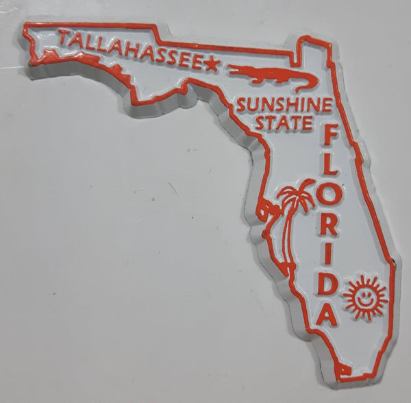 "Florida ""Sunshine State"" Tallahassee 2 1/4"" x 2 1/2"" State Shaped Rubber Fridge Magnet"