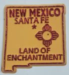 "New Mexico ""Land Of Enchantment"" Santa Fe 1 1/2"" x 1 3/4"" State Shaped Rubber Fridge Magnet"