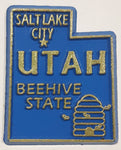 "Utah ""Beehive State"" Salt Lake City 1 1/2"" x 1 3/4"" State Shaped Rubber Fridge Magnet"