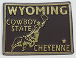 "Wyoming ""Cowboy State"" Cheyenne 1 1/2"" x 2"" State Shaped Rubber Fridge Magnet"