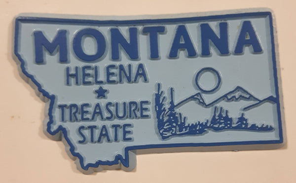 "Montana ""Treasure State"" Helena 1 1/2"" x 2 3/8"" State Shaped Rubber Fridge Magnet"