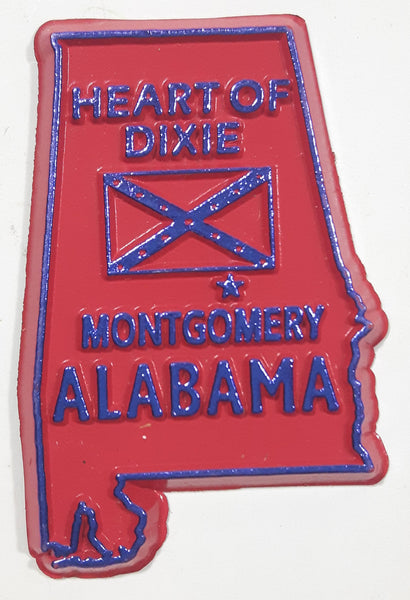 "Alabama ""Heart Of Dixie"" Montgomery 1 1/2"" x 2 1/4"" State Shaped Rubber Fridge Magnet"