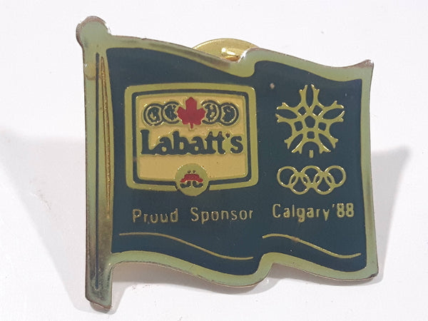 1988 Calgary Olympic Winter Games Labatt's Blue Beer Flag Shaped Enamel Metal Pin