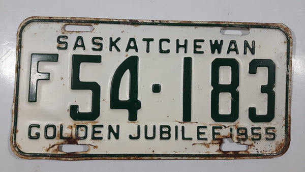 Vintage 1955 Saskatchewan Golden Jubilee Green Lettering White Vehicle License Plate Metal Tags F 54-183