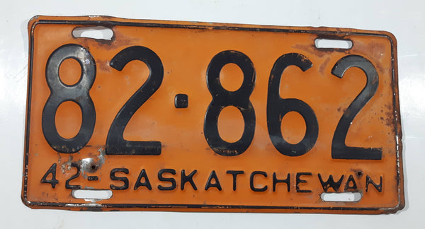 Vintage 1942 Saskatchewan Blue Lettering Orange Vehicle License Plate Metal Tags 82-862