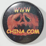 "WWW. CHINA . COM Travel Tourism Website Halloween Pumpkin Jack-O-Lantern Themed Small 1"" Diameter Round Button Pin"