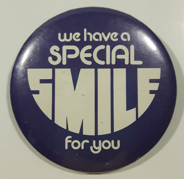 "Vintage Dentist Office We Have A Special Smile For You Dark Purple 2 1/2"" Diameter Round Button Pin"