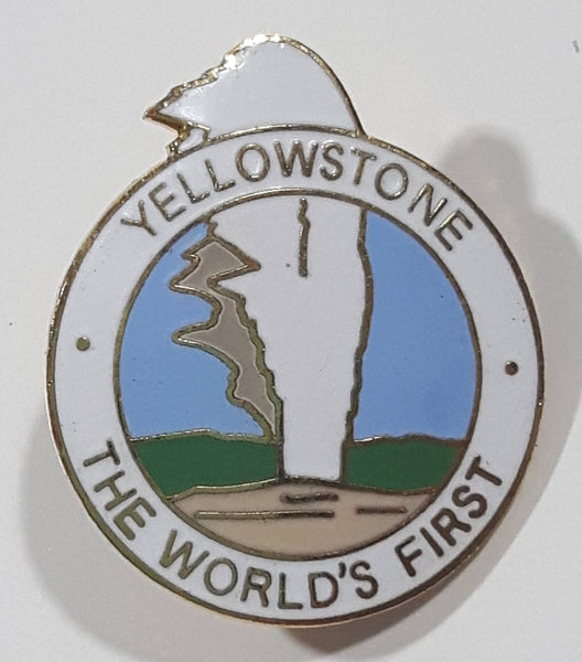 "Yellowstone The World's First White Geyser Themed 1"" x 1 1/8"" Enamel Metal Lapel Pin"