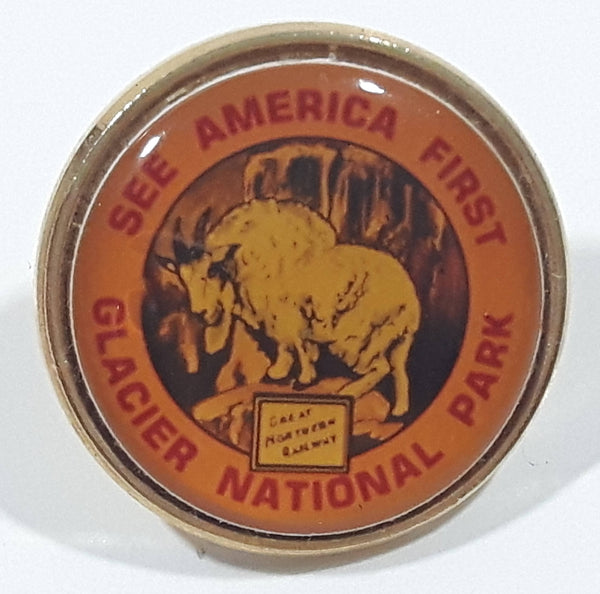 "Vintage Glacier National Park See America First Great Mountain Railway Ram Mountain Goat Themed 7/8"" Diameter Lapel Pin"