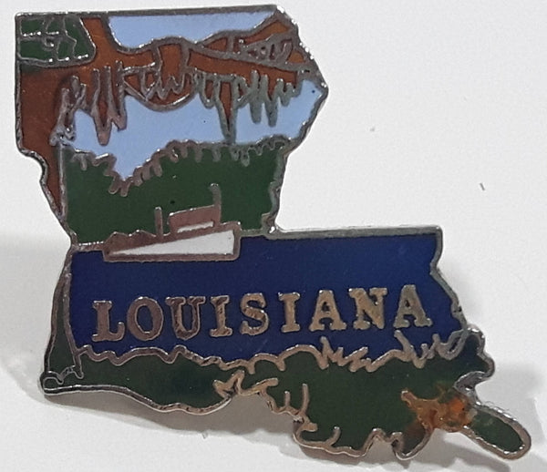 "Louisiana State Shaped 1 1/8"" x 1 1/4"" Enamel Metal Lapel Pin"
