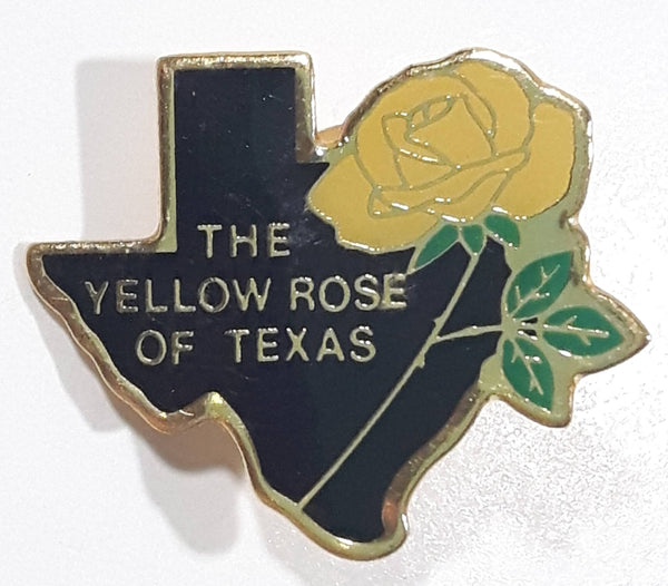 "Texas State Shaped ""The Yellow Rose of Texas 7/8"" x 1"" Enamel Metal Lapel Pin"