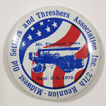 "Vintage 27th Reunion Midwest Old Settlers and Threshers Association Sept 2-6, 1976 Mt. Pleasant, Iowa 1 5/8"" Diameter Round Metal Button Pin"