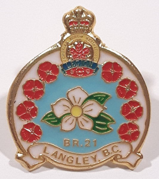 "Royal Canadian Legion Branch 21 Langley, B.C. 1 1/8"" x 1 1/4"" Enamel Metal Lapel Pin"