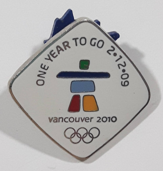 "Vancouver 2010 Winter Olympic Games ""One Year to Go 2-12-09"" 7/8"" x 7/8"" Enamel Metal Lapel Pin"