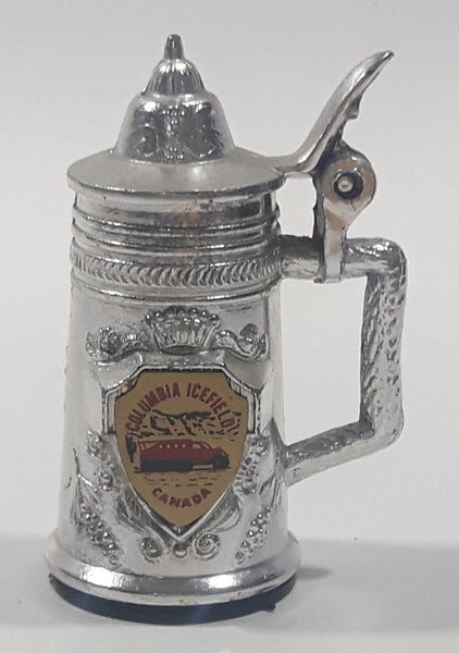 "Columbia Icefields Canada 2 1/4"" Tall Silver Tone Metal Miniature Stein With Lid"