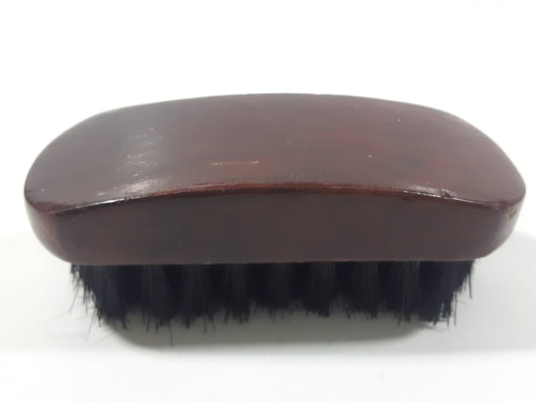 "Dark Stained Wood 3 3/8"" Long Wood Small Shoe Brush with Black Bristles"