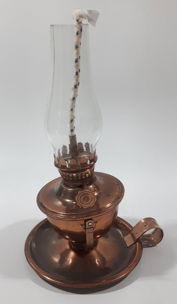 "Vintage Small Copper Oil Lamp with Glass Flume 7 1/4"" Tall"