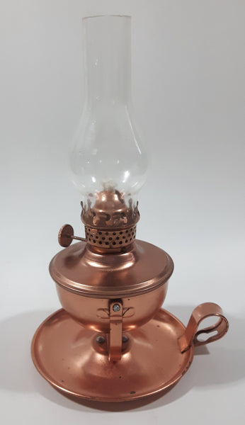 "Vintage Small Copper Oil Lamp with Glass Flume 8"" Tall"