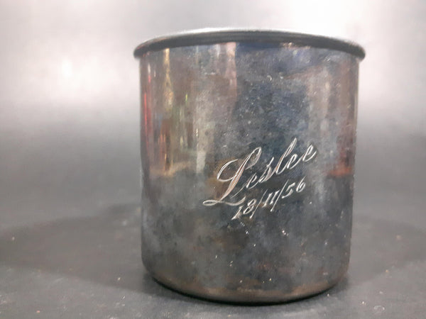 Vintage 1950s Silver Plated Copper Community Communion Christening cup Engraved with Name - Treasure Valley Antiques & Collectibles
