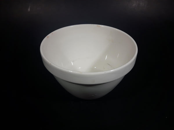 Vintage White Ironstone Pottery Pudding Bowl - Treasure Valley Antiques & Collectibles