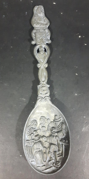 Antique Medieval Pewter or Lead Decorative Raised Spoon