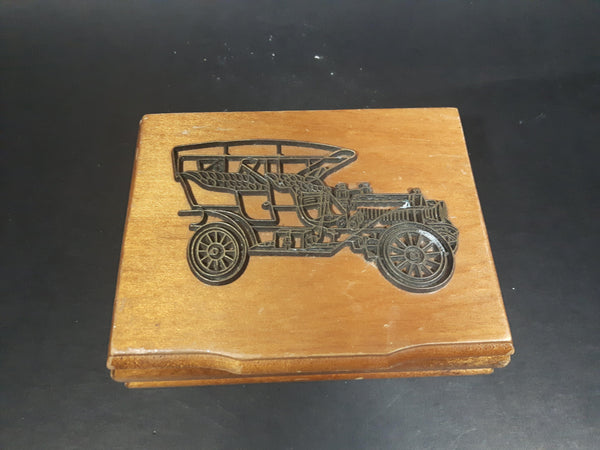 1980s Wooden Playing Card Box w/ Model-T Brass Decor - No cards