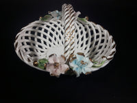 1950s Capodimonte Porcelain Flower Basket Made in Italy - Treasure Valley Antiques & Collectibles