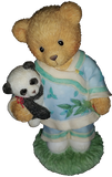 Cherished Teddies Boy Holding Panda Figurine 1996 #202347 In Box w/ Certificate - Treasure Valley Antiques & Collectibles