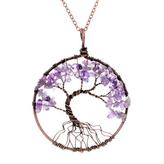 7 Chakra Tree Of Life Pendant Necklace from Rose Quartz Turquoise Crystal