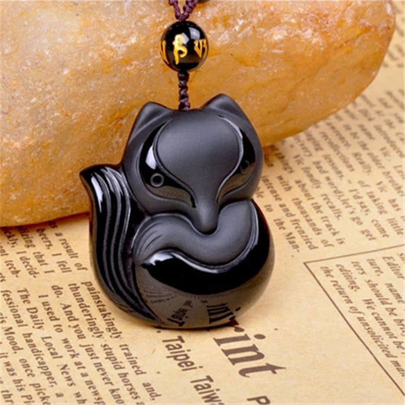 Charming Black Obsidian Hand-Carved Lucky Fox Amulet Pendant Necklace