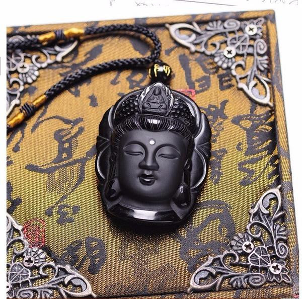 Natural Black Obsidian Buddha Head Amulets Pendant With Bead Necklace