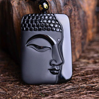 Natural Black Obsidian Buddha Head Charms Pendant With Bead Necklace