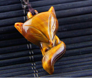 Natural Yellow Tiger Eye Fox Sculpture Lucky Charm Pendant Necklace