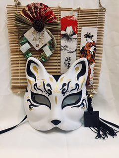Half Face Hand-Painted Japanese Style Red Pattern Fox Mask Kitsune Cosplay Masquerade