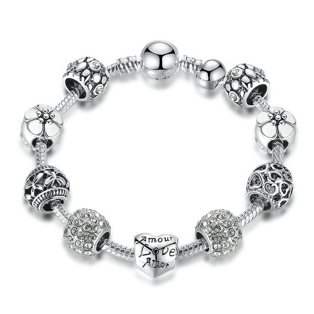 Antique Silver Charm Bracelet and Bangle with Love and Flower Crystal Ball