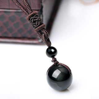 Natural Obsidian Lucky Crystal Bead Ball Pendant Necklace