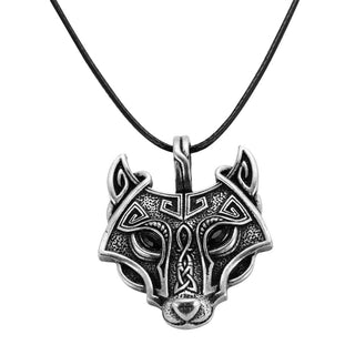 Norse Wolf Head Vikings Pendant Necklace Lishopi