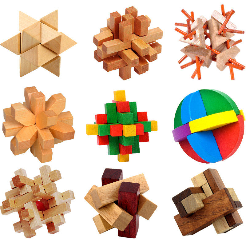 3D Wooden Puzzles Classical Intellectual Wooden Cube Educational Toy Set