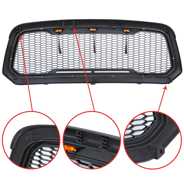 Dodge Ram Black Raptor Style Grille - Exterior Auto Parts - Motorshive