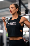 V3 Apparel womens motivational break the stereotype workout gym muscle crop tank top