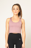 V3 Apparel womens logo deauville mauve fitness gym cropped tank top